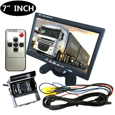 "12V/24V Car Reversing Camera RCA + 7"" LCD Monitor Truck Bus Van Rear View M0X8"