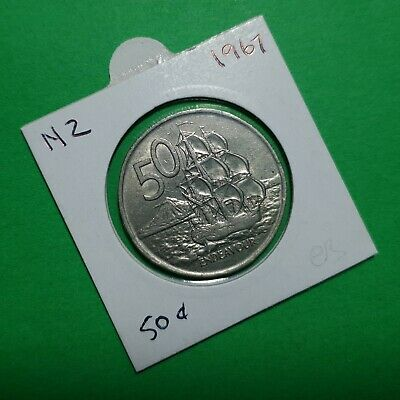 Round Fifty Cent .50c Coin in Coin Holder New Zealand 1967 – Cooks Endeavour