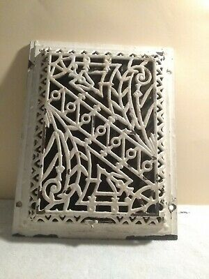Vintage ornate cast iron GRATE register damper louvers cover heating 10-1/2by 13