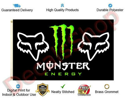 "Monster Energy Drink Fox Racing Flag Banner 3x5ft (36""x60"") Decor New Free Shipp"