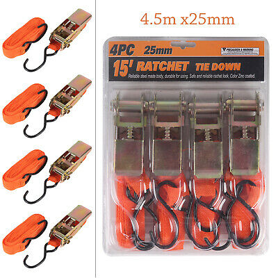 4PC Ratchet Tie Down Strap Set Roof Rack Cargo Trailer Marquee 25mm x 4.5m /15ft