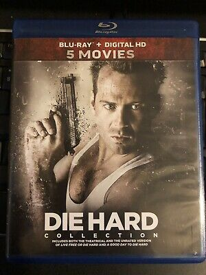 Die Hard-5 Movie Collection 1,2,3,4,5 (Blu-Ray / Digital 1-5) Free Shipping!