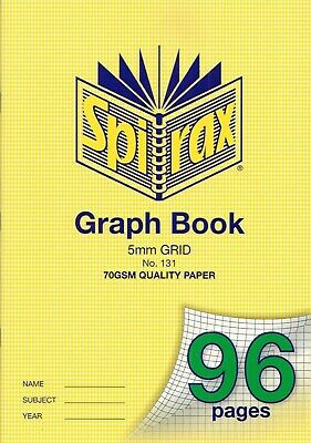 Spirax Graph Book 5mm Grid 70gsm 96 Pages ***56131***