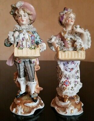Antique Porcelain Figurine Pair With Lace