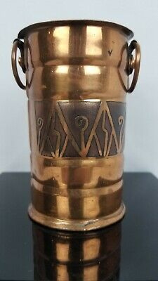 Unusual Art And Crafts Taxco Copper Vase Signed
