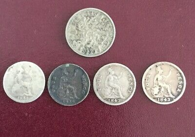 Mixed British Silver Coins Inc 4x Fourpence And 1936 KGV Sixpence #76