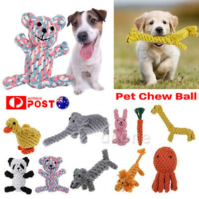 Dog Teddy Chew Knot Toys Pet Puppy Teeth Bear Braided Tough Strong Rope Animal