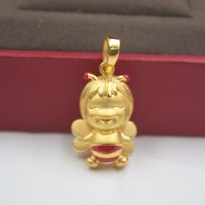 Real 999 Real 24K 3D Yellow Gold Pendant For Lady Women Paint Angel Jewelry