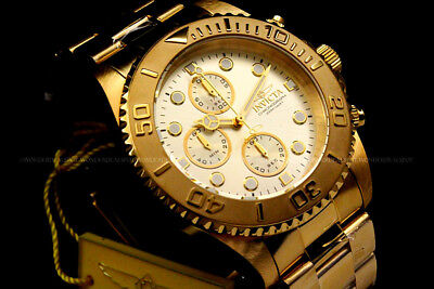 1774 Invicta Pro Diver 18K Gold Plated Champagne Dial Chrono S.S Bracelet Watch