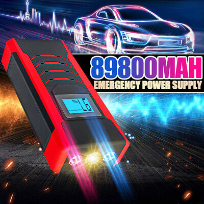 89800mAh 600A 12V LED Car Jump Start Starter 4 USB Charger Battery Power Booster
