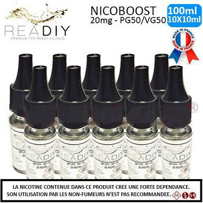 Booster Nicotine 20 mg Pack 10 X 10 ml 50/50 DIY - Nicoboot - READIY