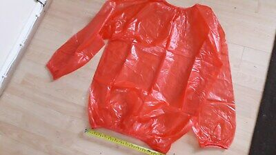 "Adult Baby Bright Red Plastic Pyjamas Top + Pants Size Xl, 34""-43"" Waist"