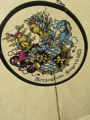 Vintage Stained Leaded Glass Coat of Arms Herzogtum Bayern 1623 Duke of Bavaria