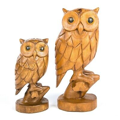 Hand Carved Fair Trade Rustic Wooden Owl on Branch - OW-296