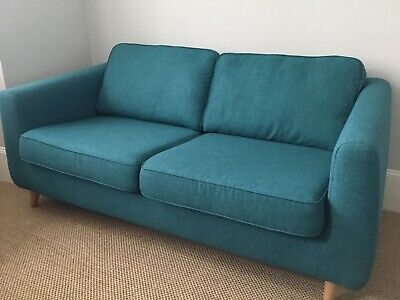 DFS Luppo 3 Seater Sofa In Teal, Excellent Condition