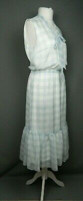 f47ac803 Ralph Lauren Size 10 Gingham Tie Neck Dress A-Line VNeck Tiered RRP £180