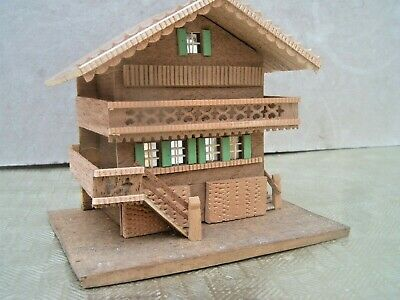 Wooden Box containing Swiss Chalet Style House / Lidded box