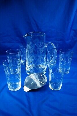 A Sasaki Noritake Bamboo Glass Jug And 6 Drinking Glasses Set