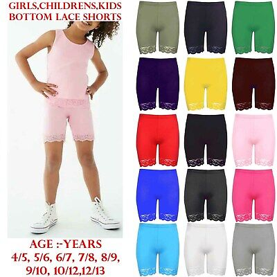Girls Kids Children Lace Trim Gym Tights Viscose Active Shorts Cycling Hot Pants