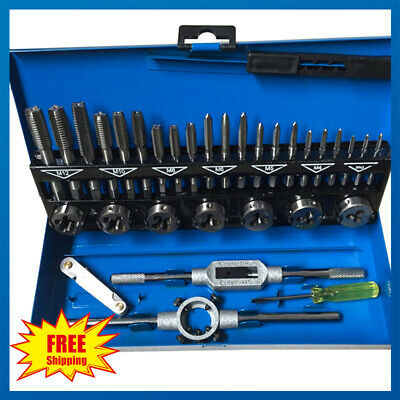 32Pcs Pro Metric Tap Wrench And Die Engineers Set Cuts M3-M12 Bolts + Case Kit
