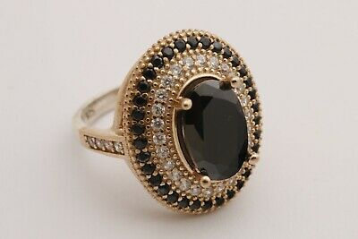 Turkish Jewelry Small Oval Black Onyx Topaz 925 Sterling Silver Ring Size All