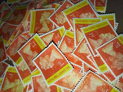 50 x UNFRANKED 1st CLASS SIGNED FOR STAMPS OFF PAPER - NO GUM See Description!!!