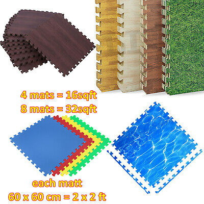 LARGE INTERLOCKING EVA FOAM FLOOR MATS TILES GYM GARAGE WORKSHOP PUZZLE 60cm