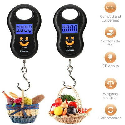 110lb/50kg Digital Luggage Scale Hand Held Hanging Baggage Bag LCD with Hook