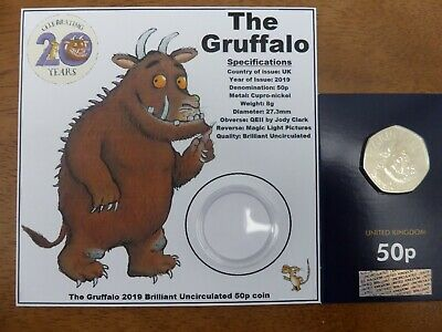 (Coin in hand) 2019 Gruffalo brilliant uncirculated 50p display card and coin.