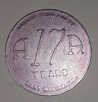 Vintage Alcoholics Anonymous AA 17 Year Medallion Token Coin Chip Sobriety Sober