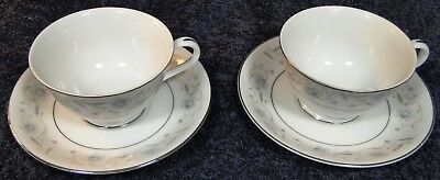 Fine China of Japan English Garden Footed Tea Cup Saucer Sets 1221 2 Excellent