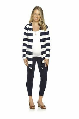 Chic Maternity Striped Maternity Cardigan Navy Blue and White