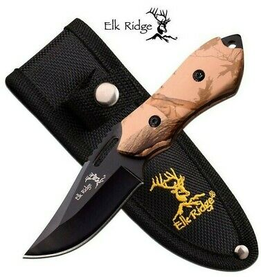 Elk Ridge Full Tang Black Blade Camo Handle Skinner w/ Nylon Sheath.