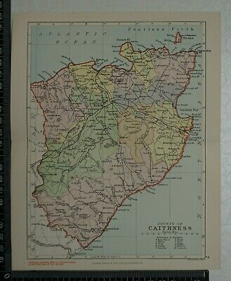 1891 - Map of County of Caithness, Scotland- by Bartholomew / Philip