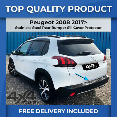 Peugeot 2008 17> Polished Stainless Steel Rear Bumper Sill Trim Cover Protector