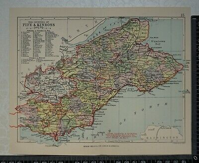 1891 - Map of Counties of Fife & Kinross, Scotland- by Bartholomew / Philip