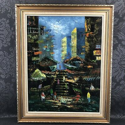 """Hong Kong China Street Life Art Vintage Impressionist 28"""" Oil Painting Signed"""