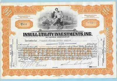 Insull Utility Investments Inc., share certificate dated 1930.