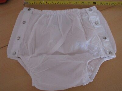 """Adult Baby Milky White Snap Plastic Pants In Pvc Size Large ( L ) 28""""-34"""" Waist"""