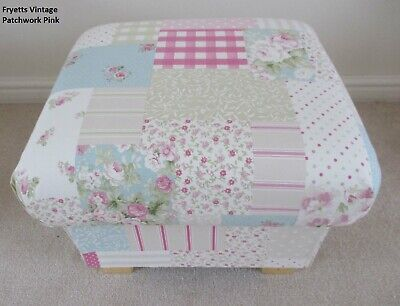 Storage Footstool Fryetts Vintage Patchwork Pink Fabric Pouffe Gingham Spots New