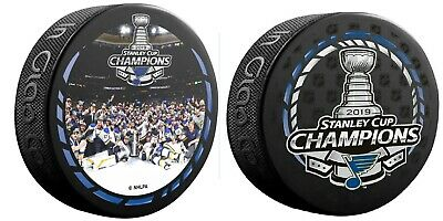 2019 Nhl Stanley Cup Champions Puck Set Of Two (2) Blues Logo & Team Celebration