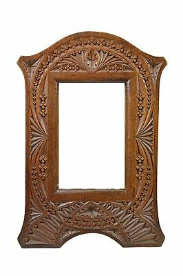 Antique Standing Frisian Chip Carved Picture Frame, Dutch / Netherlands.