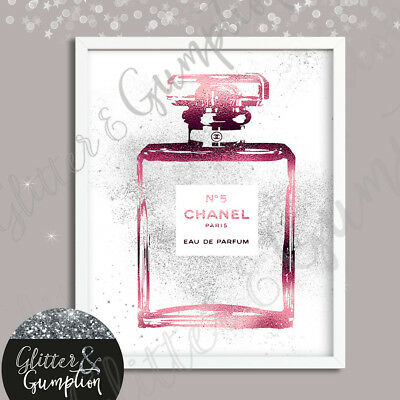 Fashion Art Abstract pink foil effect iconic perfume bottle silver faux glitter