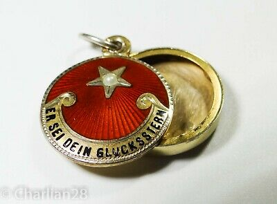 Rare Antique Lucky Star Silver Slider Charm Locket Guilloche Red Enamel  A1075