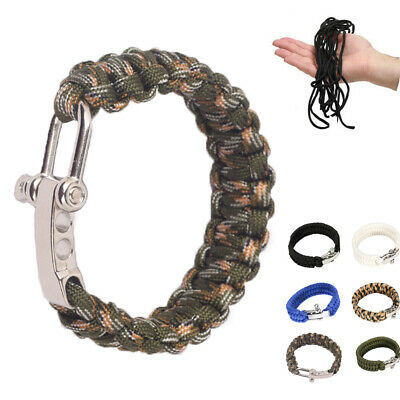 Buckle Rope Wristband Braided Cord Paracord Survival Bracelet Outdoor Tools