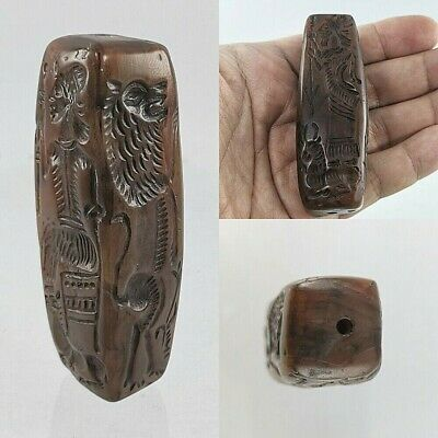 Large Ancient Sassanian Agate Cylinder King/Queen Seal 4-Side Intaglio #A130