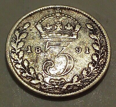 Detailed Silver 1891 Great Britain 3 Pence - Head of Queen Victoria - 3d