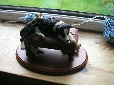 James Herriot Figurine, Border Collie with Pups on couch.