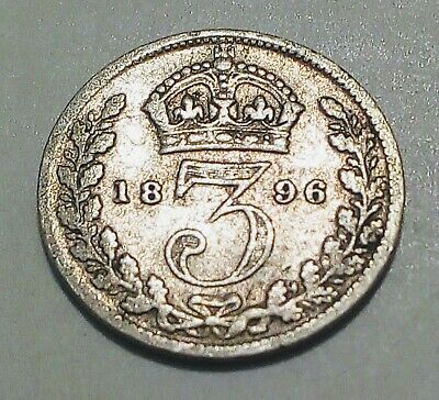 Pleasing Silver 1896 Three 3 Pence Coin - Great Britain - Queen Victoria 3d