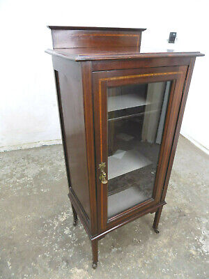 freestanding,glazed,door,bookcase,china,cabinet,antique,edwardian,inlaid,small